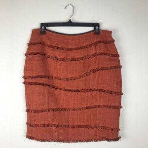 Lafayette 148 Rusty Orange Tweed And Fringe Skirt